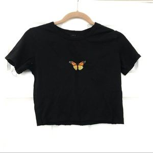 Brandy Melville cropped butterfly shirt